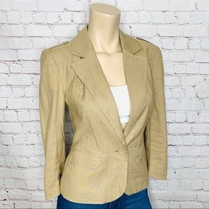 CLUB MONACO Linen Blend Khaki Blazer 3/4 Sleeve 8